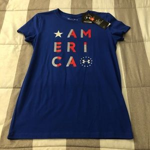 """NWT! Women's UA """"America"""" Graphic tee"""